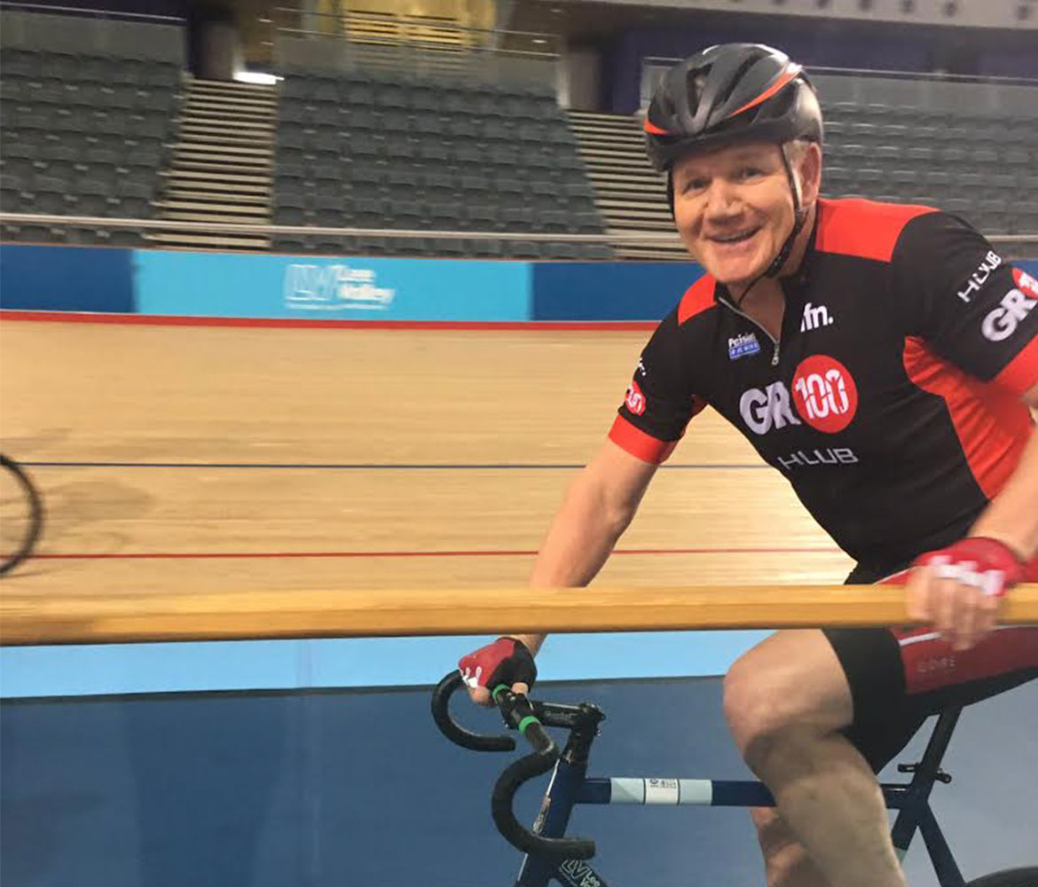 Gordon Ramsay on the track at The Velodrome Pursuit