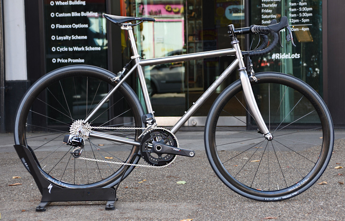 fccf4676b81 Seven Cycles Axiom SL Road Bike outside Sigma Sports store
