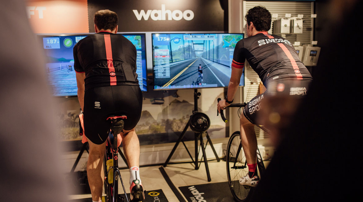 Sigma Sports cyclists riding Zwift