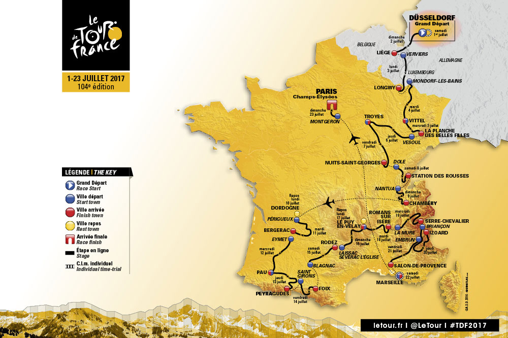 TdF Route Map 2017