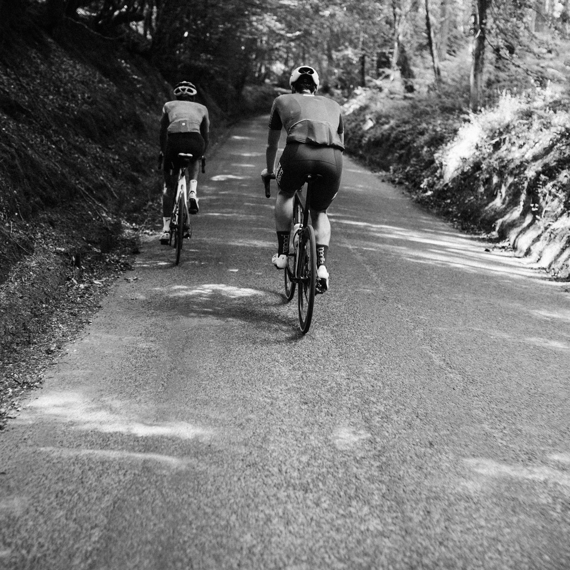 Cyclists riding in the Surrey Hills