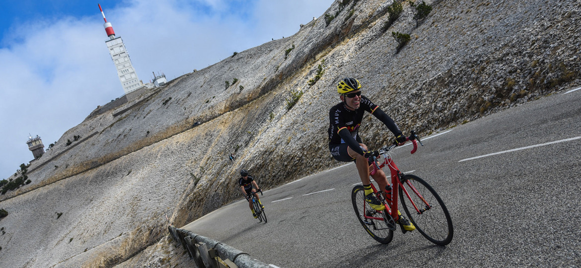 Cyclist riding up Mont Ventoux