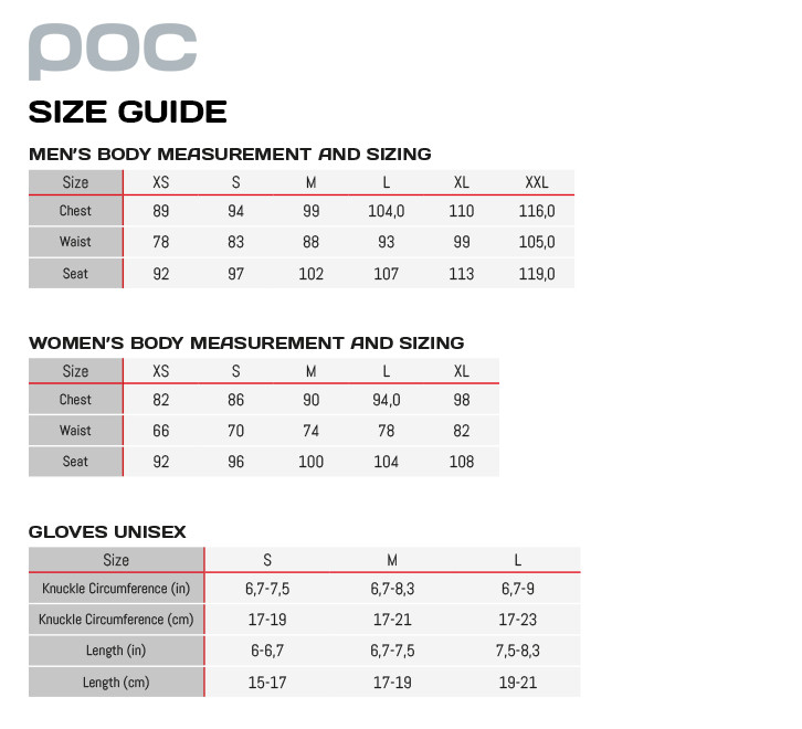 Image result for poc size chart