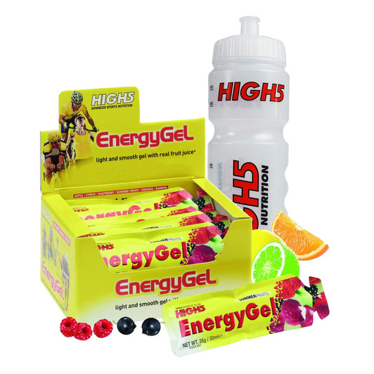 High5 Energy Gels Box Of 20 Assorted Flavours And Water Bottle Bundle