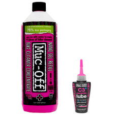Muc-Off Nano Tech Bike Cleaner Concentrate and C3 Wet Lube Bundle