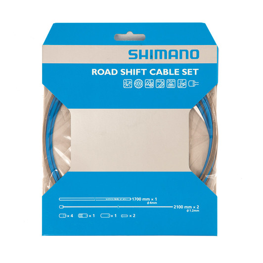 Shimano Road Gear Cable Set With PTFE Coated Inner Wire - Blue