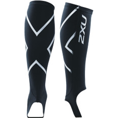 2XU Compression Calf Guard with Stirrups - Black