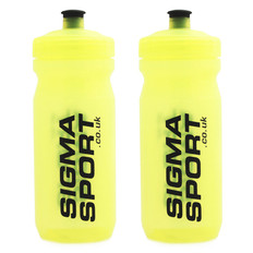 Sigma Sport Team Fluoro Yellow MAX Water Bottle 600ml Twin Pack