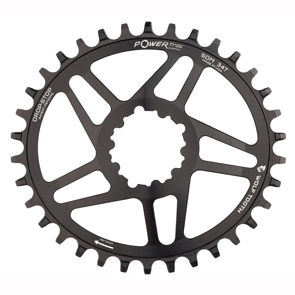 Wolf Tooth Components PowerTrac Elliptical Chainring For SRAM Direct Mount 3mm Offset