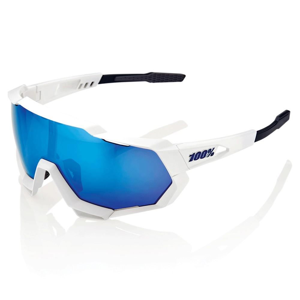 100% Speedtrap  Sunglasses With HiPER Blue Mirror Lens
