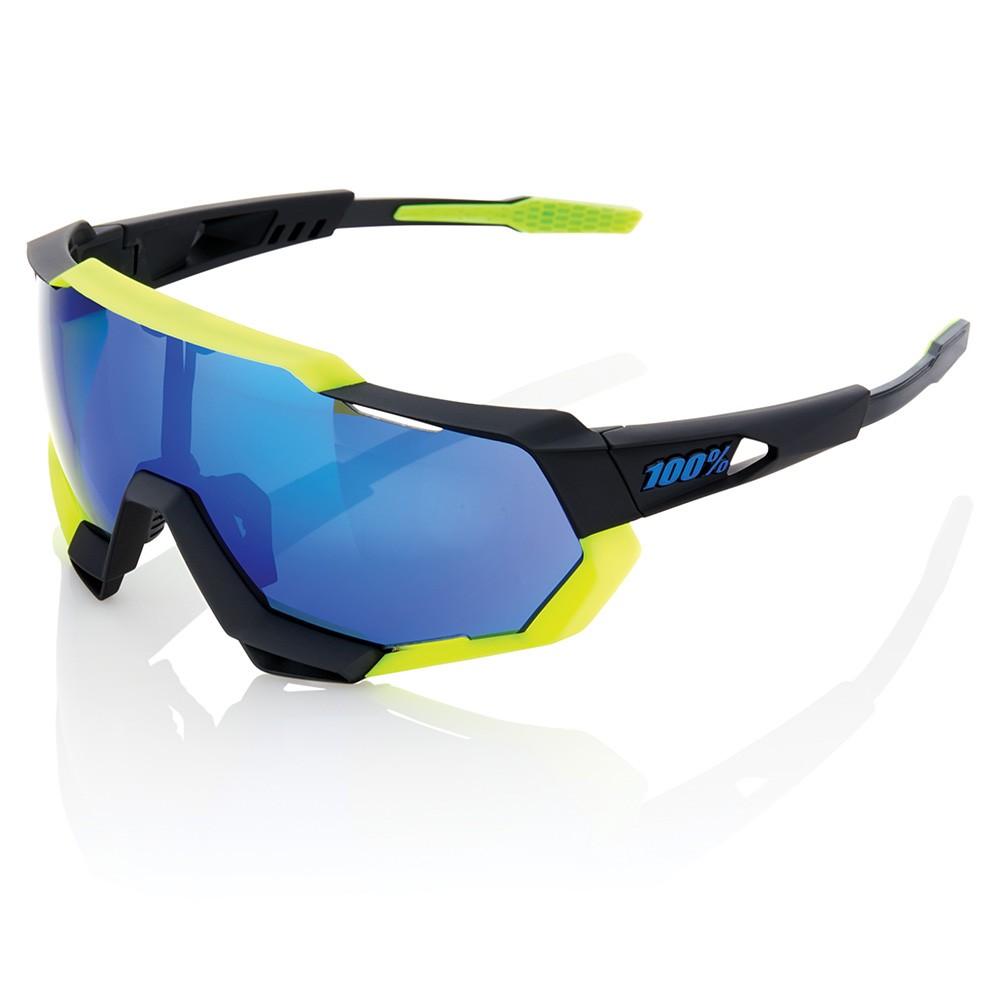 100% Speedtrap Sunglasses Electric Blue Mirror Lens
