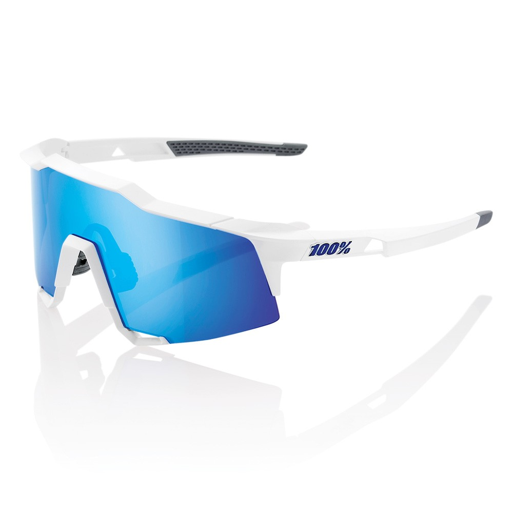 100% Speedcraft Sunglasses Matte White HiPER Blue Mirror Lens