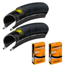 Continental Grand Prix 4000S II Tyres and Race 28 Tubes Bundle