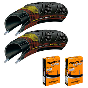 Continental Grand Prix 4 Season Tyres And Race 28 Tubes Bundle