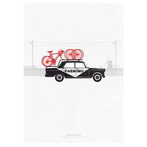 Hitting The Wall Caravan 2 - Peugeot 404 Print