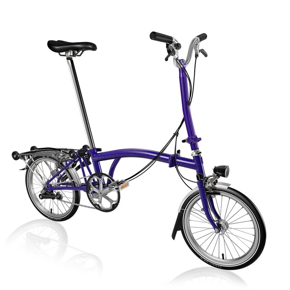 Brompton Steel H3R Folding Bike With Mudguards, Rack & Dynamo Lights