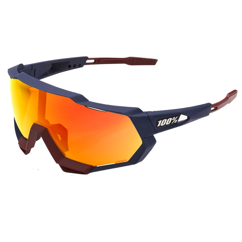 100% Speedtrap Sunglasses With HiPER Red Multilayer Mirror Lens