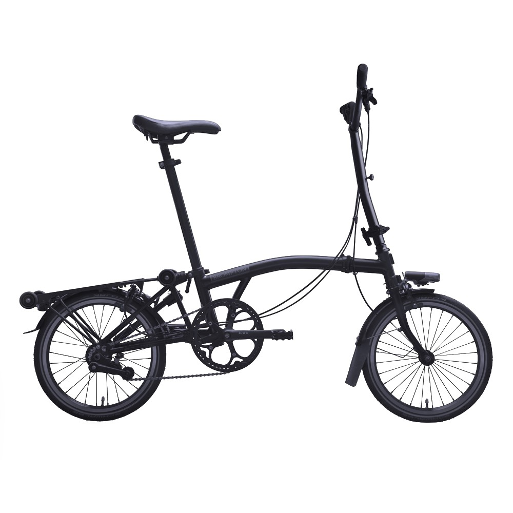 Brompton Black Edition Steel M6L Folding Bike + Mudguards + Front Carrier Block