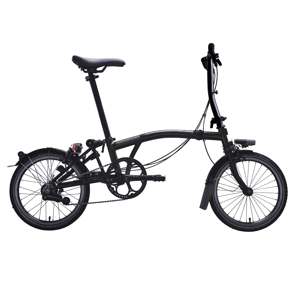 Brompton Black Edition Steel S2L Folding Bike With Mudguards (Raw Lacquer)
