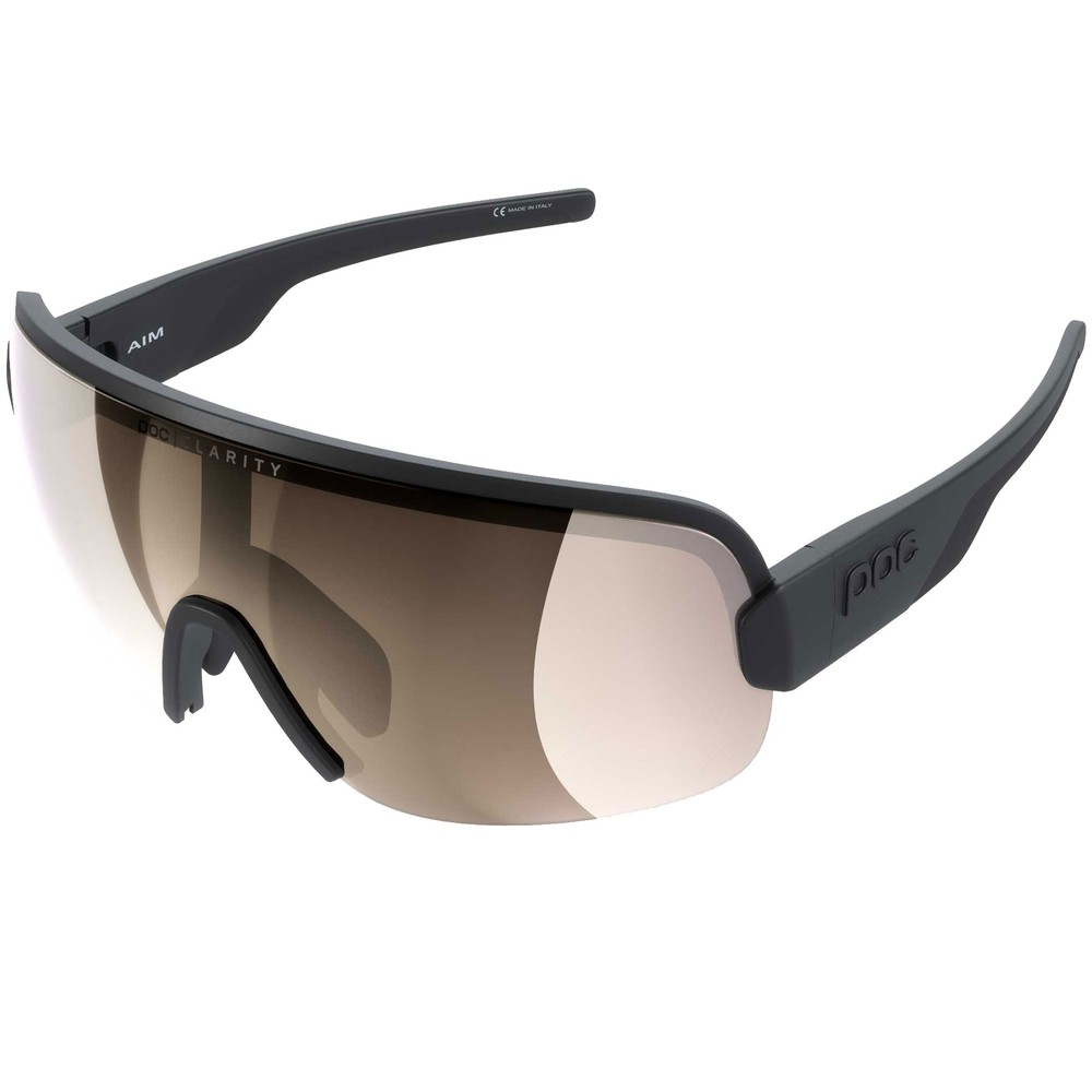 POC Aim Sunglasses Uranium Black With Brown/Silver Mirror Lens