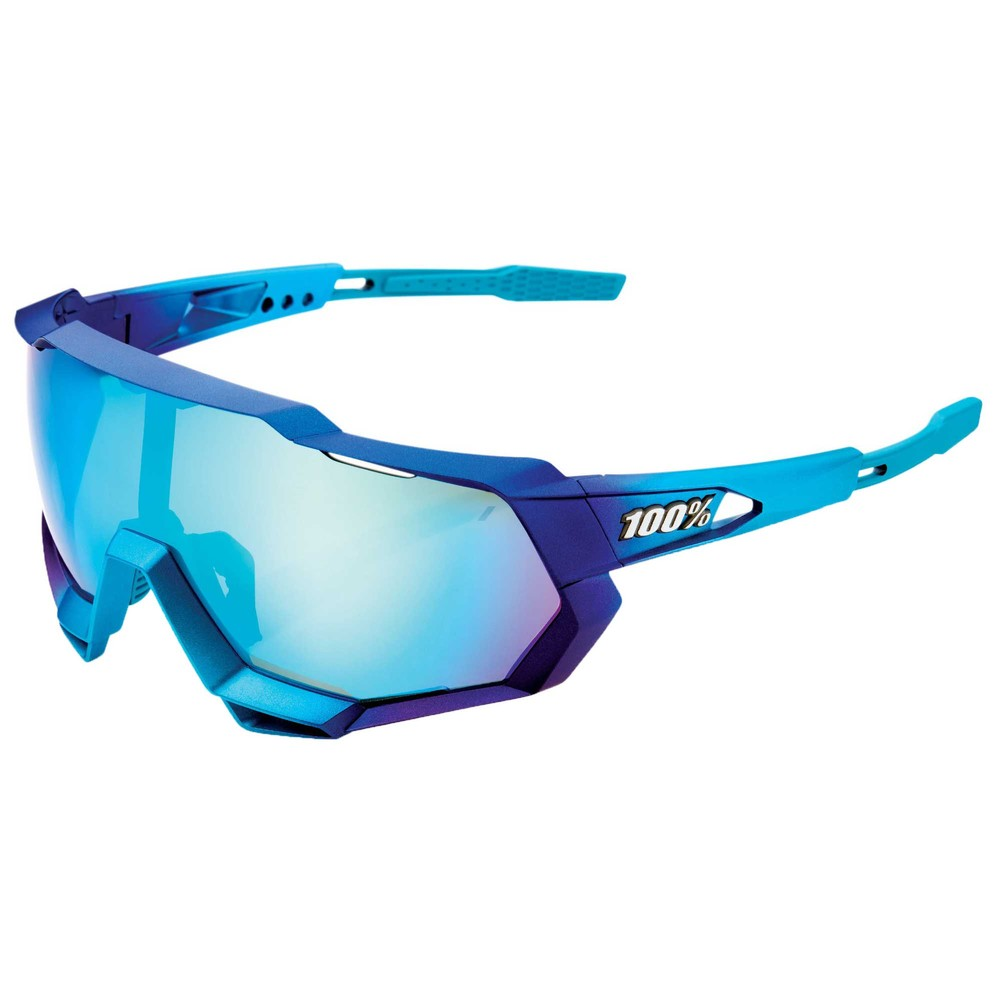 100% Speedtrap Sunglasses With Blue Topaz Multilayer Lens