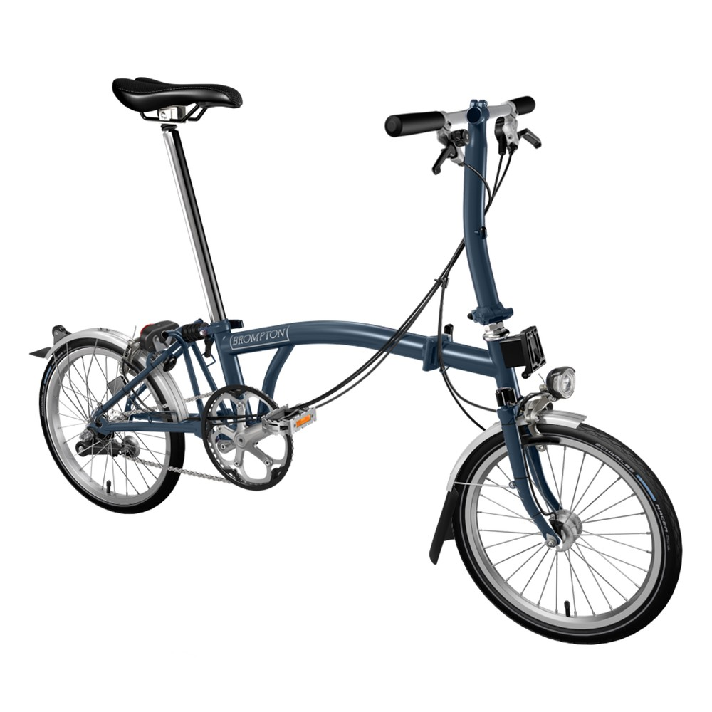 Brompton Custom Steel S3L Folding Bike With Mudguards And Dynamo Front Light