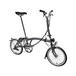 Brompton H6L Steel Folding Bike + Mudguards + Dynamo Lights (Metallic)