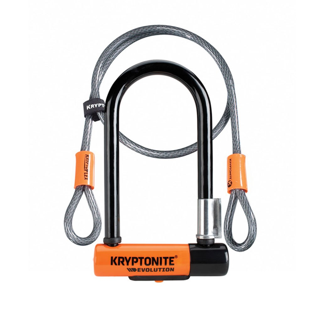Kryptonite Evolution Mini-7 Lock With Cable + Flexframe Bracket Sold Secure Gold
