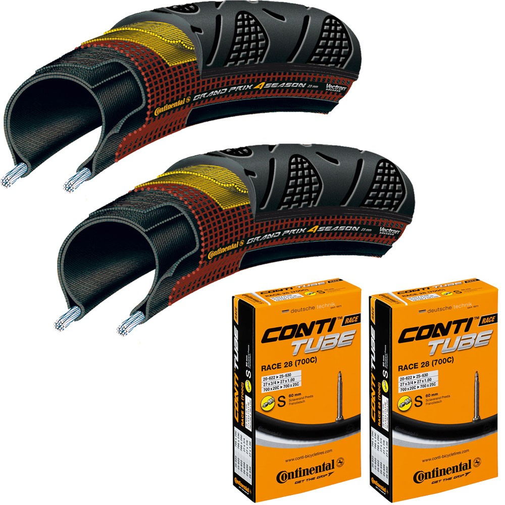 Continental Grand Prix 4 Season Tyres And Race 28 Inner Tubes Bundle