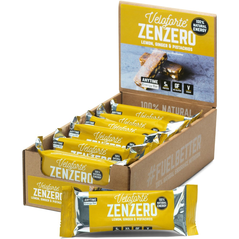 Veloforte Zenzero Natural Energy Bar Box Of 15 X 62g
