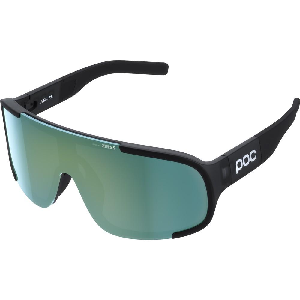 POC Aspire Sunglasses Uranium Black Translucent With Deep Green Lens