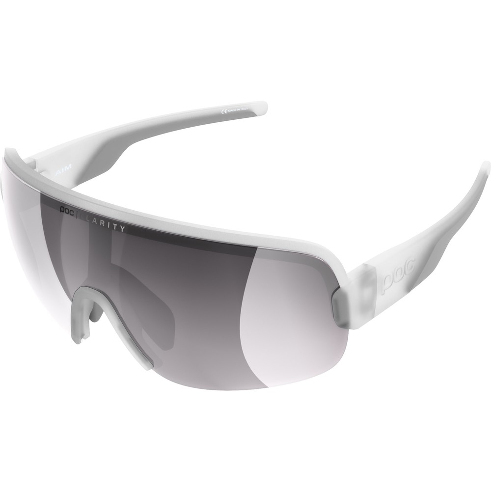 POC Aim Sunglasses Transparent Crystal With Violet/Silver Mirror Lens