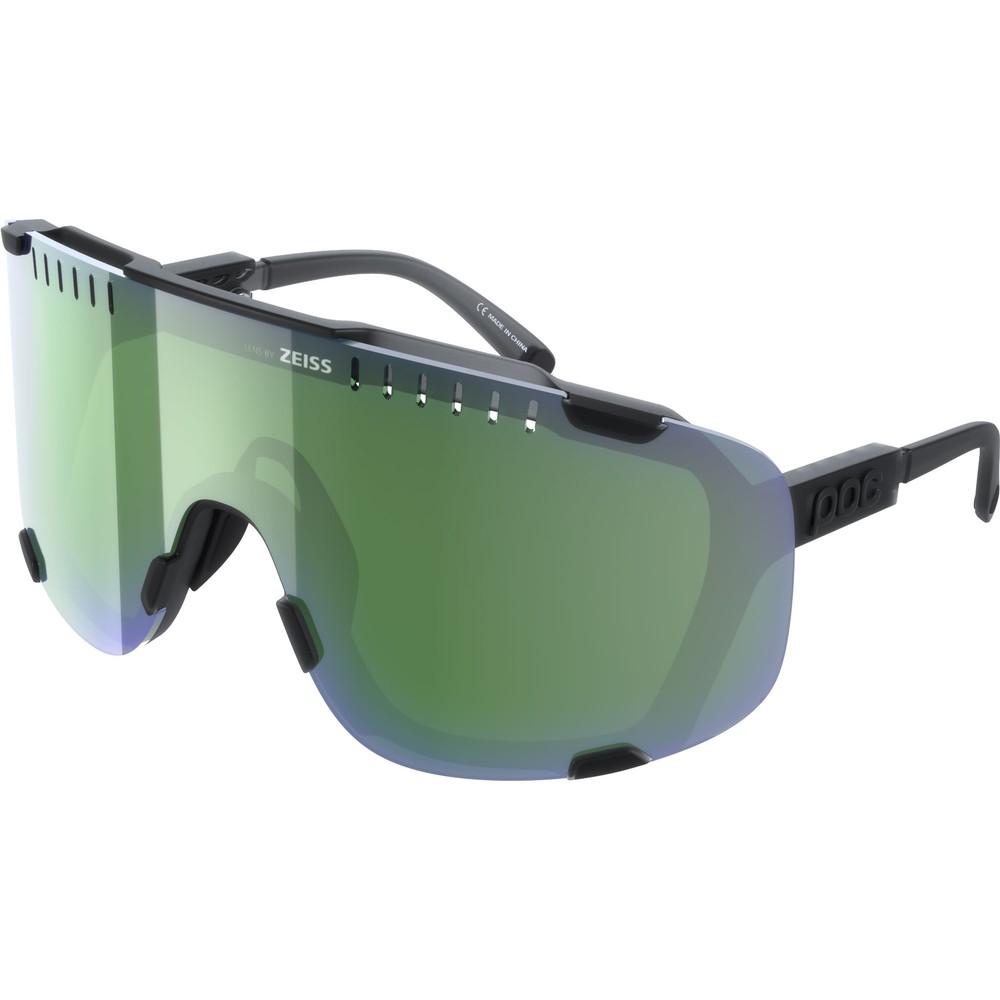 POC Devour Sunglasses Uranium Black Translucent With Deep Green Lens
