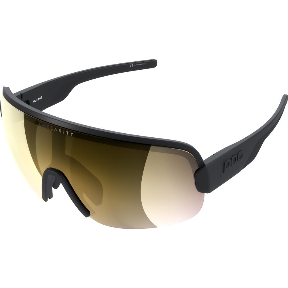 POC Aim Sunglasses Uranium Black With Violet/Gold Mirror Lens