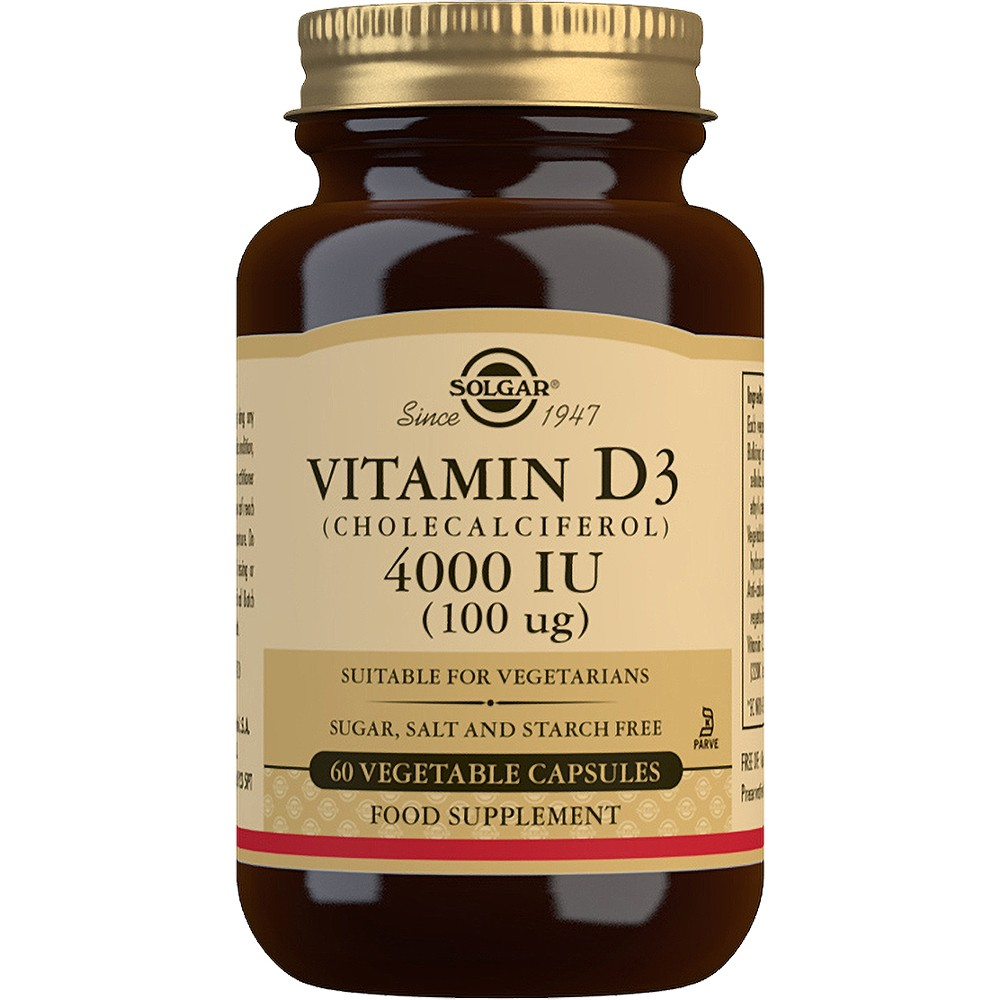 Solgar Vitamin D3 (Cholecalciferol) 4000 IU (100μg) - 60 Tablets