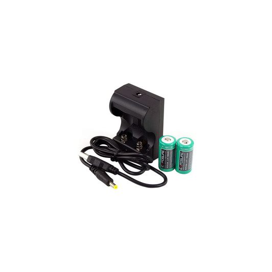 Exposure Lights USB Charger With 2 X RCR123 Rechargeable Batteries