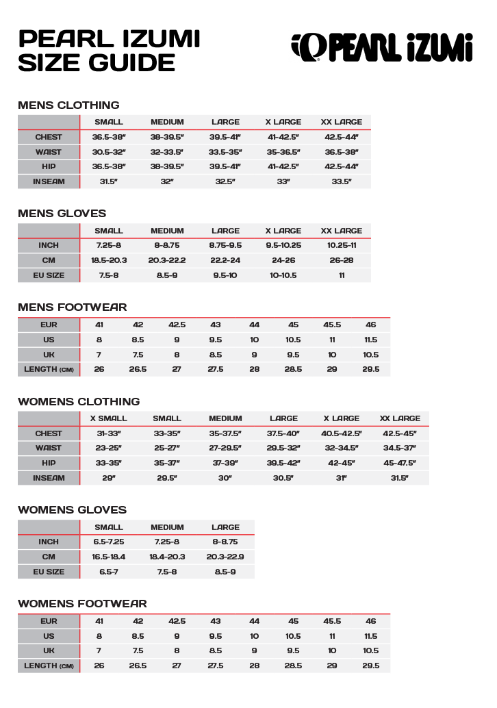 Pearl izumi bike shoes size chart shoes style 2018