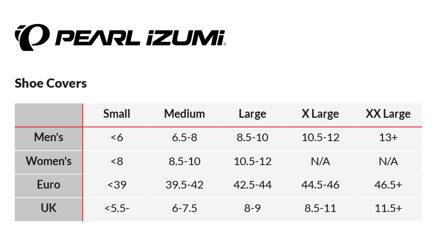 Pearl Izumi Pro Barrier Lite Shoe Cover Sizing