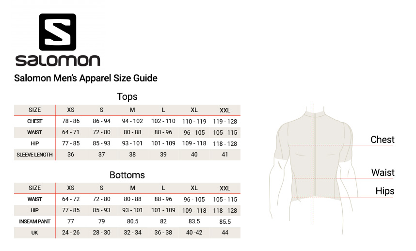 Image result for salomon s/lab men's size chart image