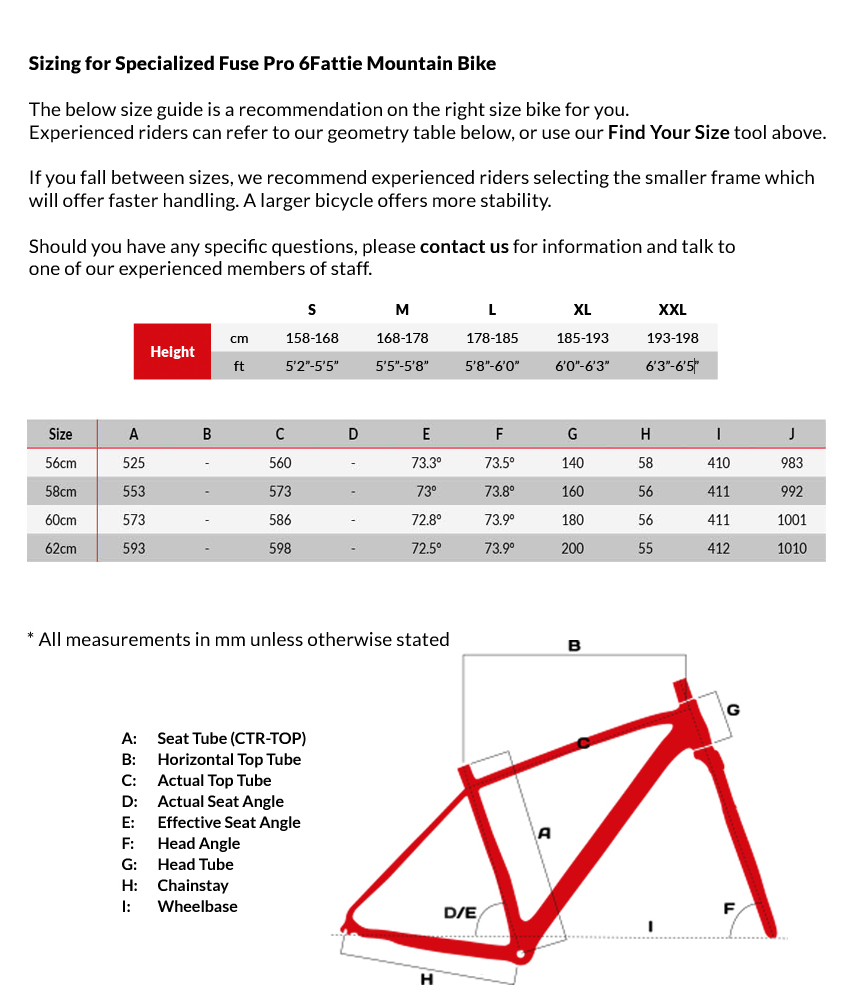 specialized size chart 2017: Specialized fuse pro 6fattie mountain bike 2017 sigma sports